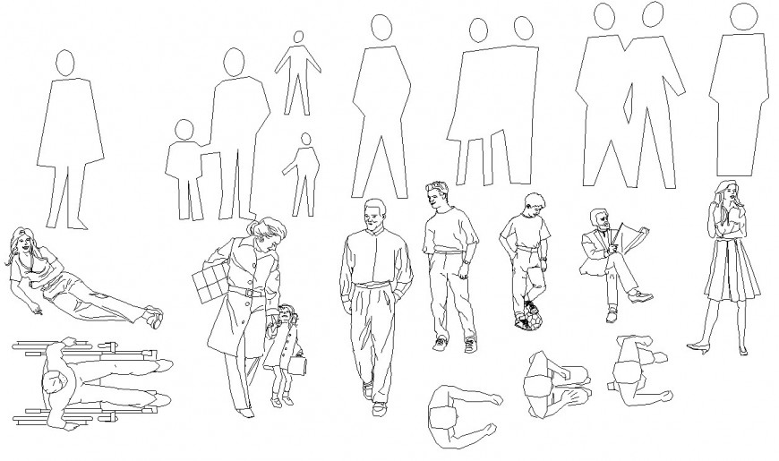 Multiple common people blocks and figures cad blocks details dwg file