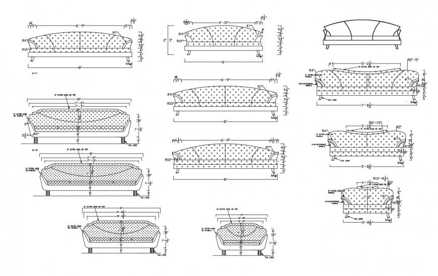 Multiple common sofa set elevation blocks cad drawing details dwg file