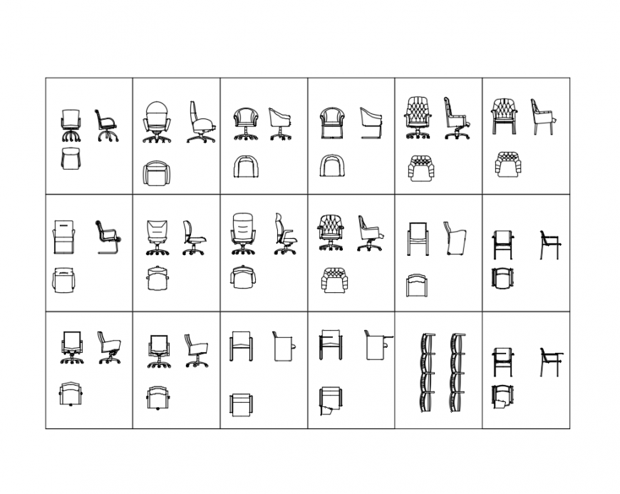 Multiple conference and meeting office chairs cad blocks details dwg file
