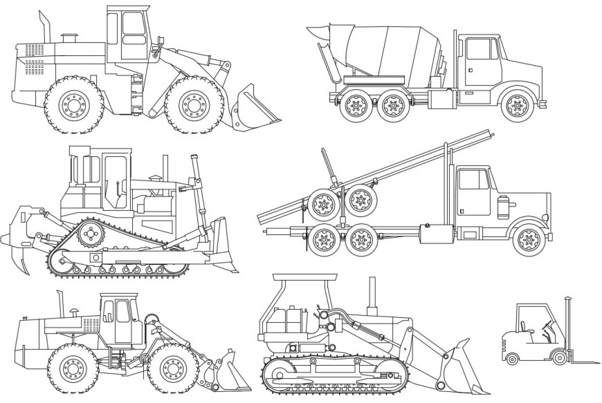 Multiple constructive vehicle elevation blocks drawing details dwg file