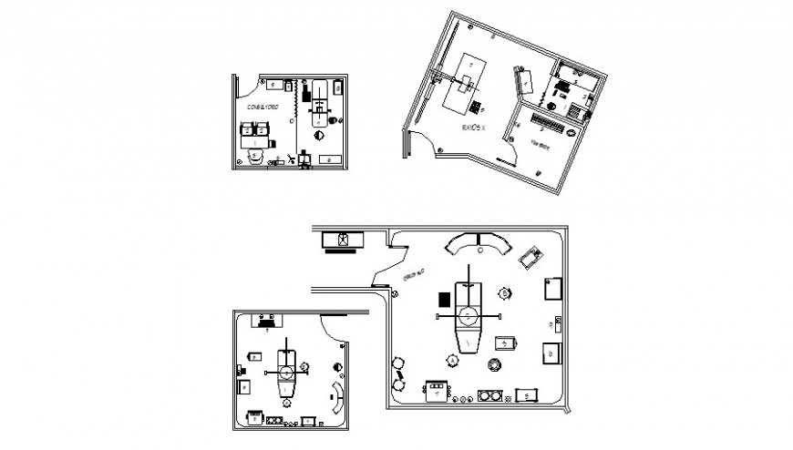 Multiple consultant clinic plan details with furniture layout cad drawing details dwg file