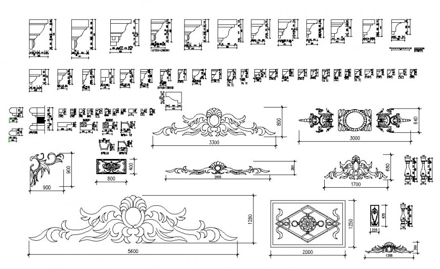 Multiple cornices and interior 2d blocks cad drawing details dwg file