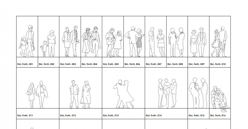 Multiple couple and family people blocks drawing details dwg file