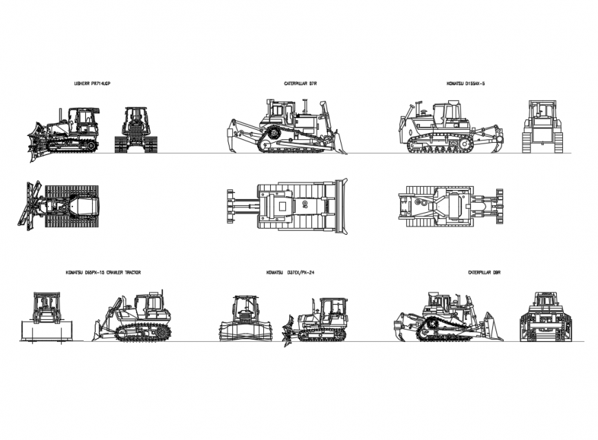 Multiple creative crawler, tractor, bulldozer vehicle blocks details dwg file