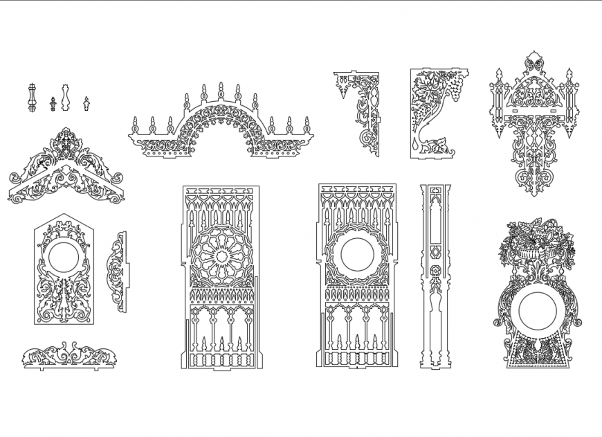 Multiple creative decorative pattern designs for doors and windows dwg file
