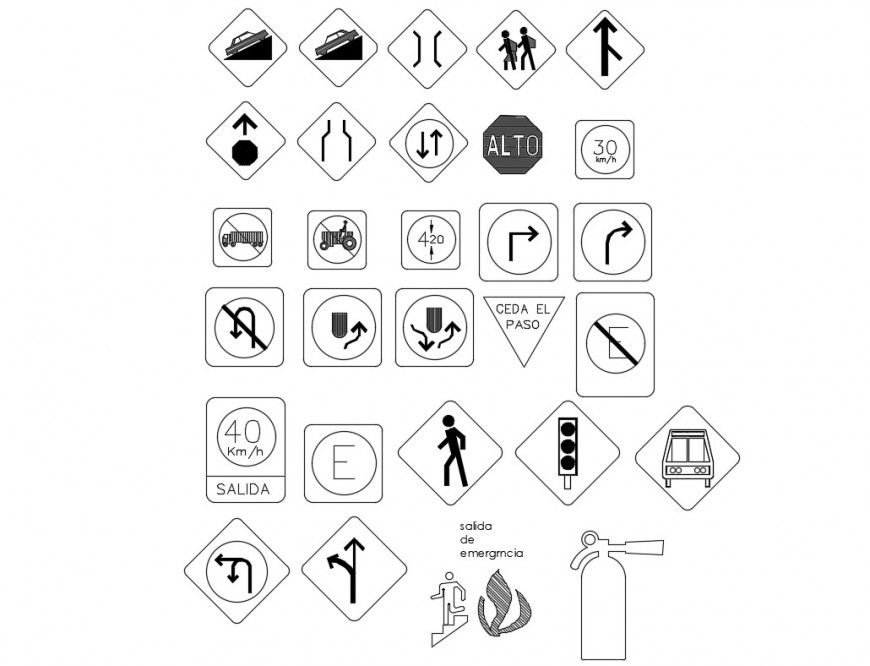 Multiple direction and fire exit symbol blocks cad drawing details dwg file