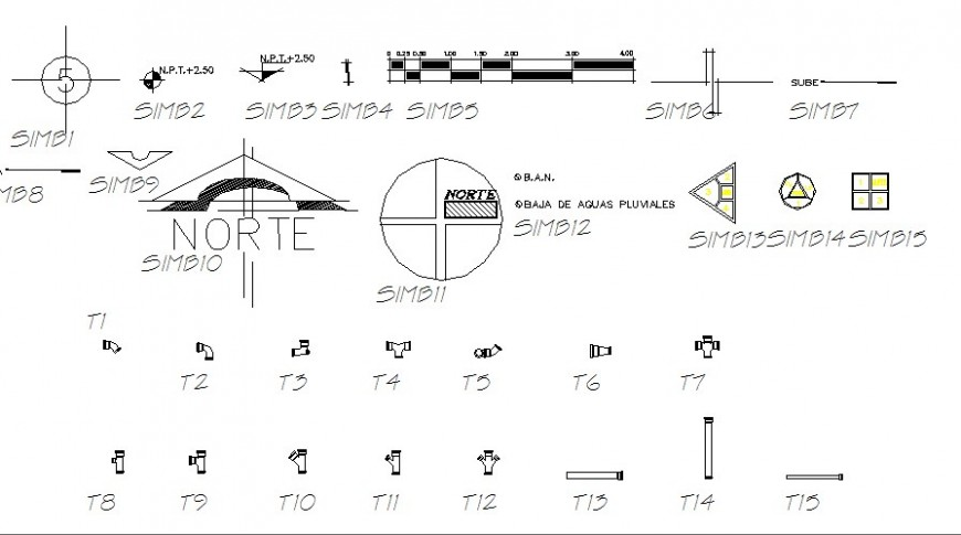 Multiple direction blocks and road symbols cad drawing details dwg file