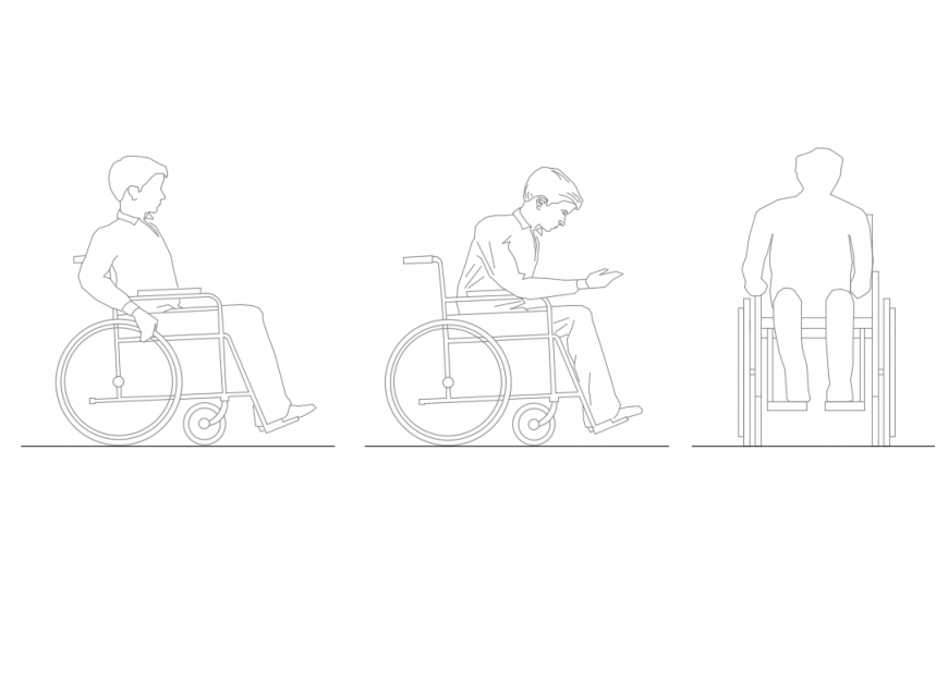 Multiple disable man people acts with wheel chair cad block design dwg file