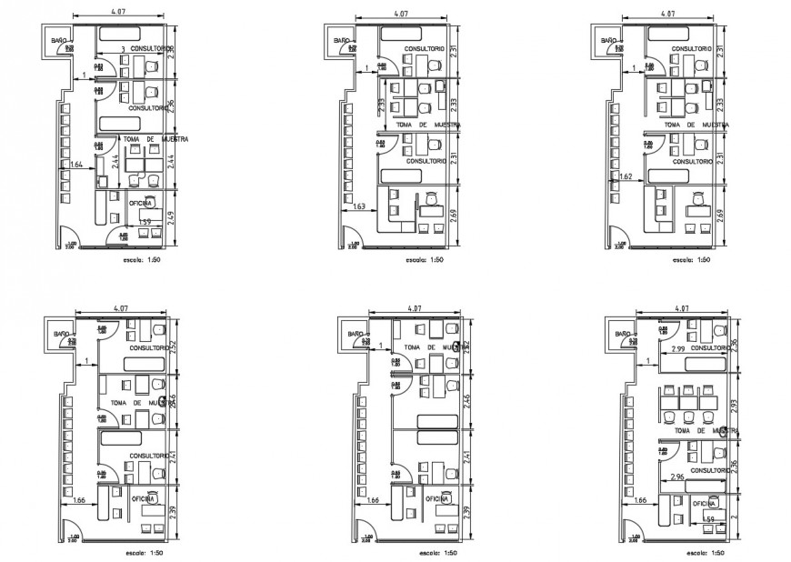 Multiple doctor offices modules plans cad drawing details dwg file