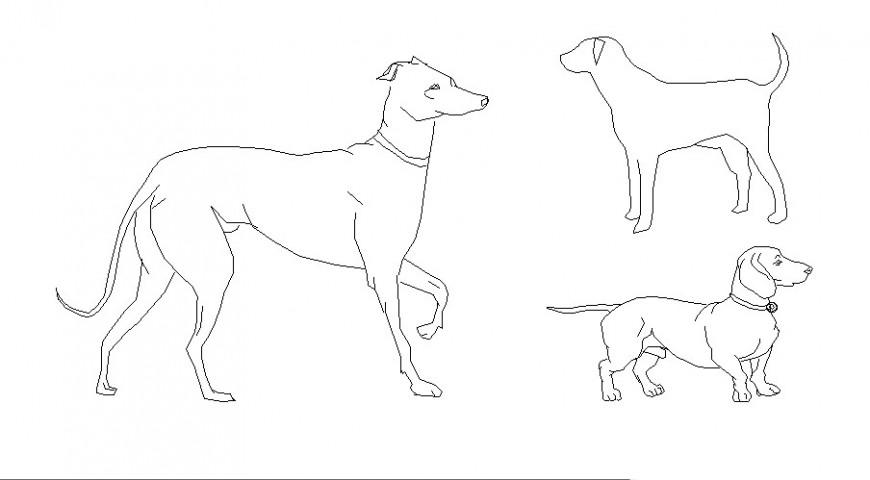 Multiple dog elevation 2d blocks cad drawing details dwg file