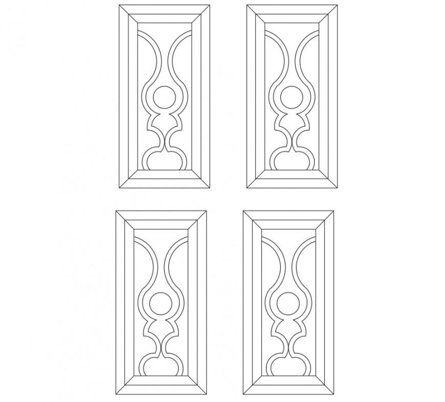 Multiple door elevation blocks cad drawing details dwg file