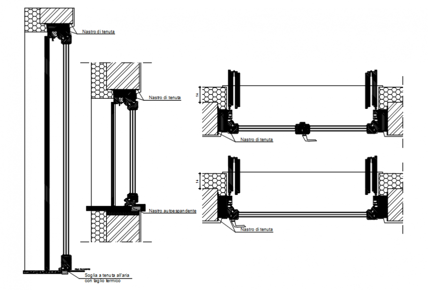 Multiple door framings and installation drawing details dwg file