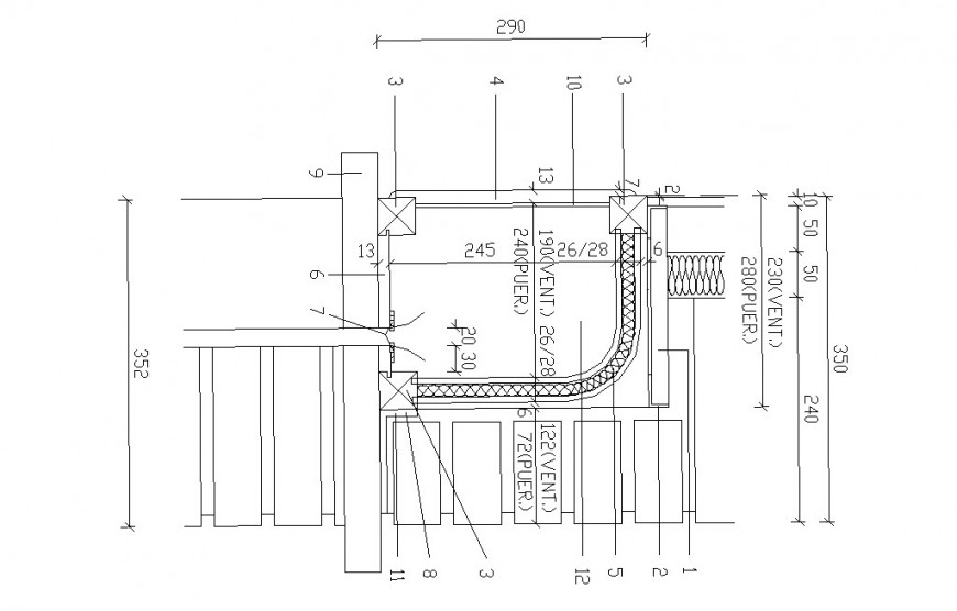 Multiple door openings and installation cad drawing details dwg file