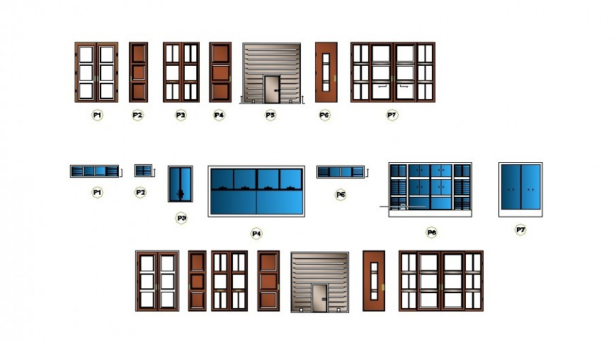 Multiple doors and windows elevation blocks details of office building dwg file