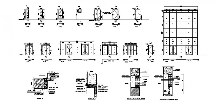 Multiple doors and windows elevations and installation details for hostel building dwg file