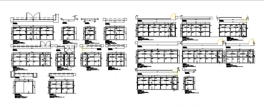 Multiple doors and windows installation and car pantry details of hospital dwg file