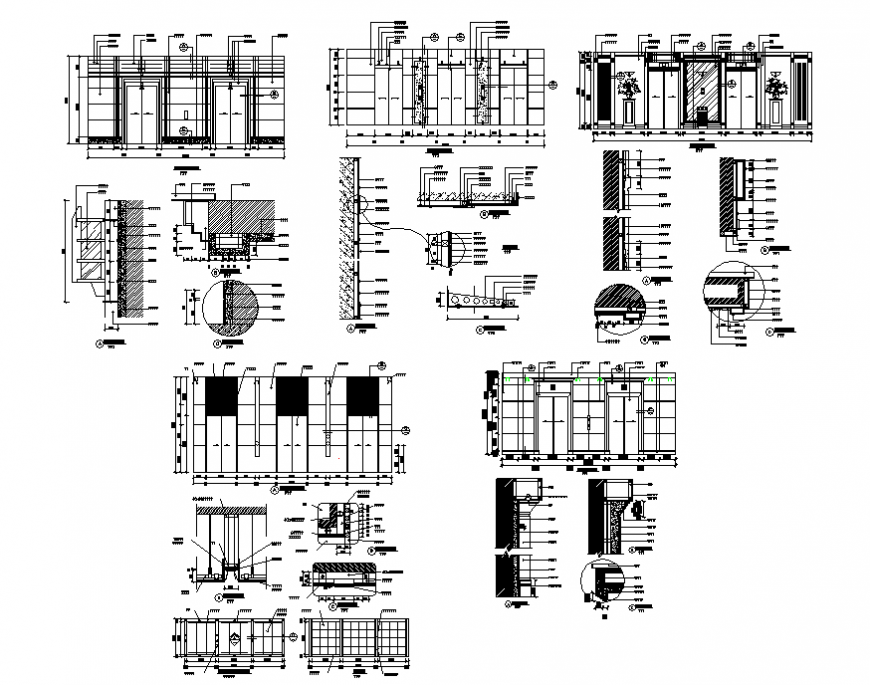 Multiple doors elevation and installation cad drawing details dwg file