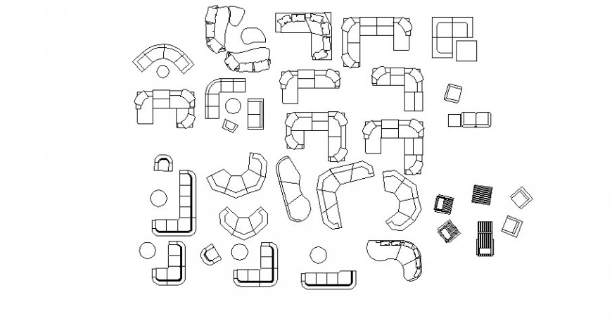 Multiple drawing room sofa set blocks auto-cad drawing details dwg file