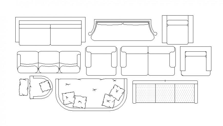 Multiple dynamic sofa set elevation blocks cad drawing details dwg file