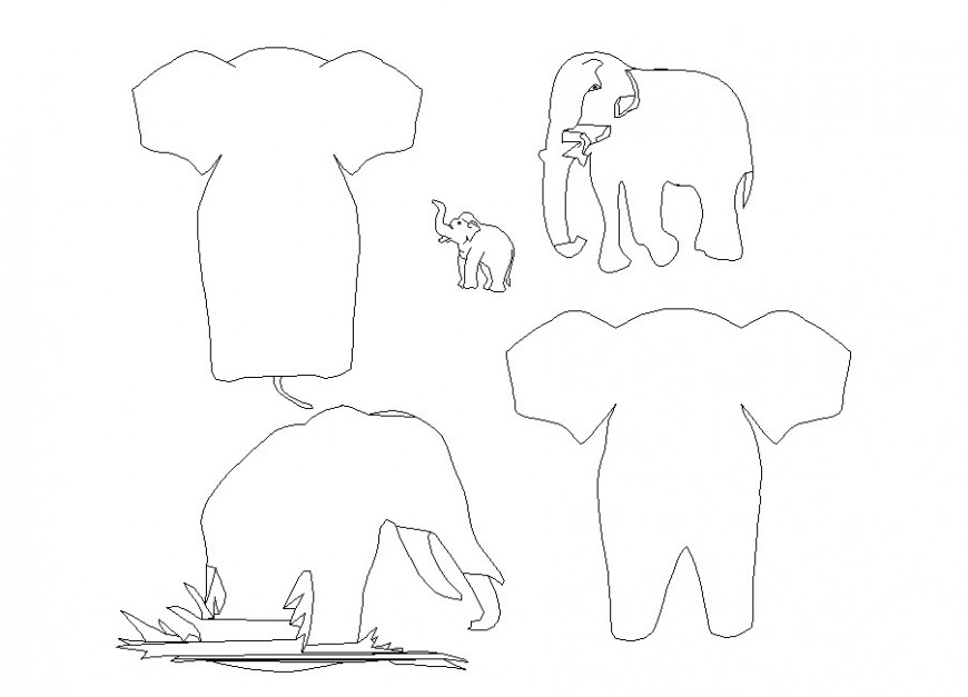 Multiple elephant elevation blocks cad drawing details dwg file