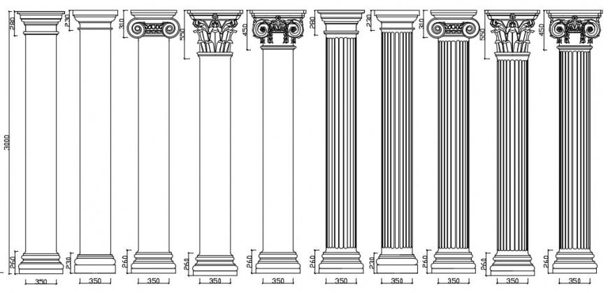 Multiple European column elevation blocks drawing details dwg file