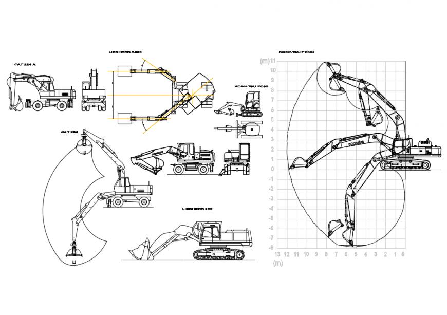Multiple excavators cad block details with plan dwg file