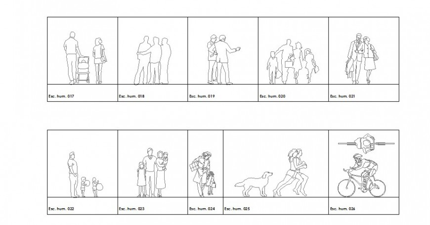 Multiple family and group people blocks cad drawing details dwg file