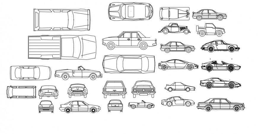 Multiple family car all sided elevation blocks drawing details dwg file