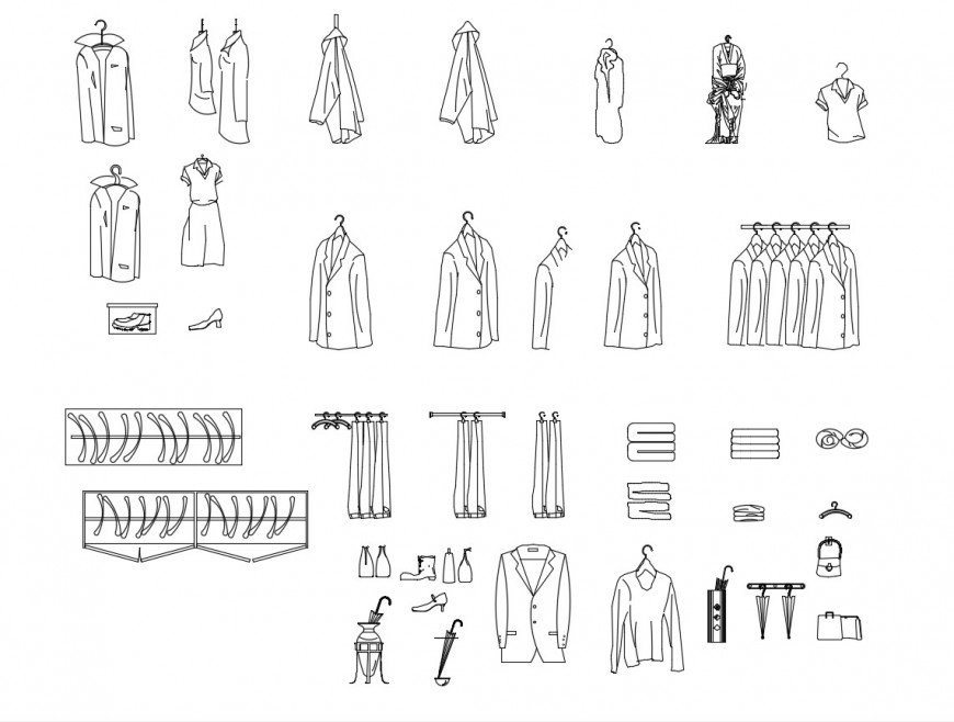 Multiple fashion clothing elevation blocks cad drawing details dwg file