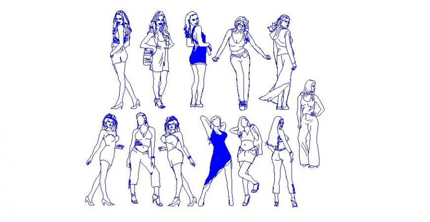 Multiple fashion model women elevation blocks cad drawing details dwg file