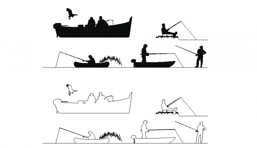 Multiple fishermen with boats people blocks cad drawing details dwg file