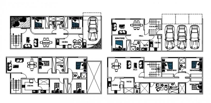Multiple Floor plan distribution details of apartment building blocks dwg file