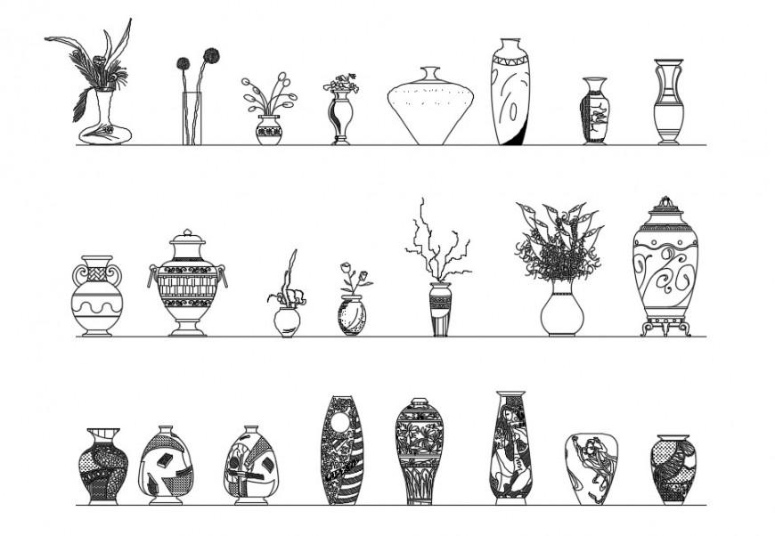 Multiple flower vases elevation blocks drawing details dwg file