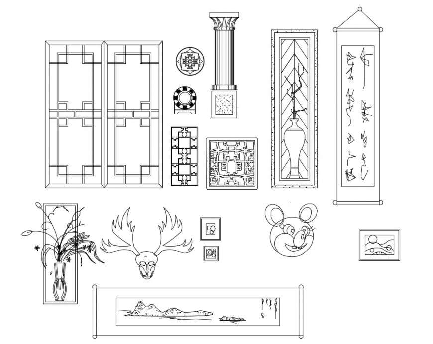 Multiple furniture and decorative equipment blocks cad drawing details dwg file