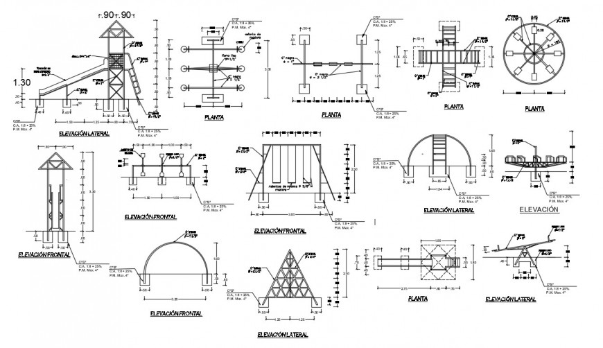 Multiple garden equipment and furniture automation drawing details dwg file