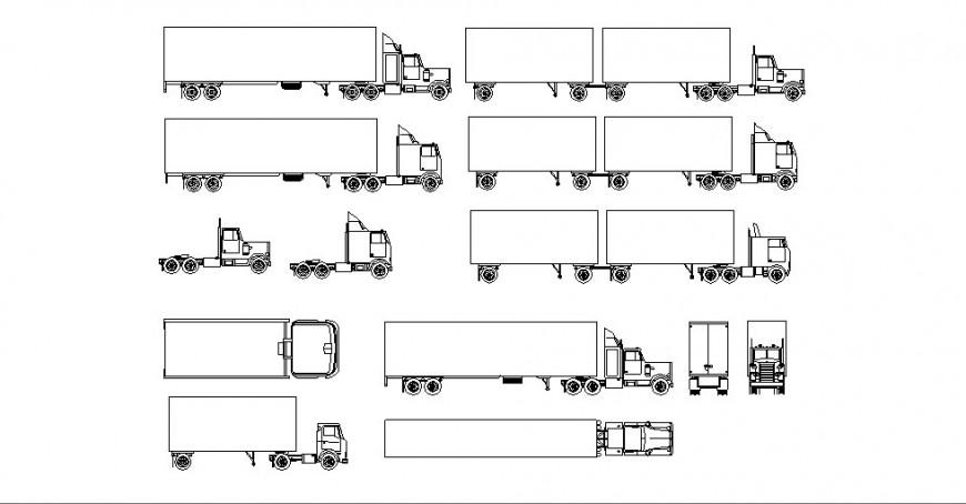Multiple heavy loading truck elevation blocks cad drawing details dwg file