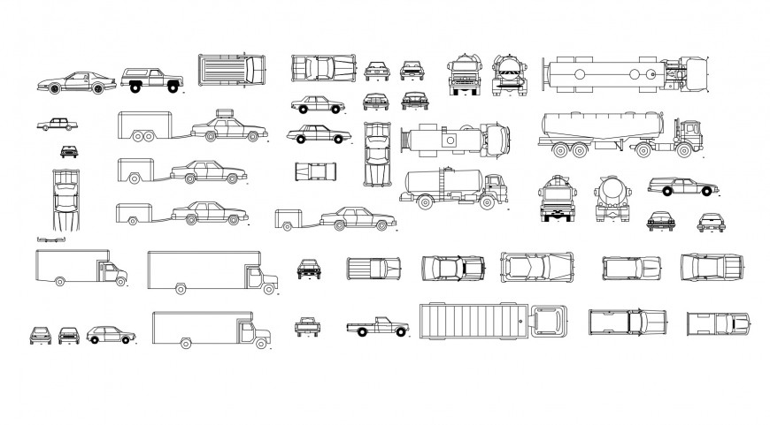 Multiple heavy vehicles and car elevation blocks cad drawing details dwg file