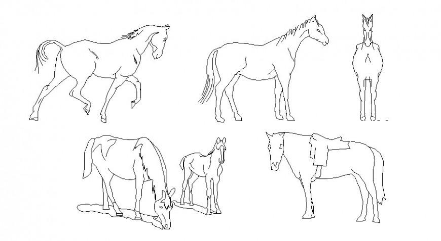 Multiple horses 2d elevation blocks cad drawing details dwg file