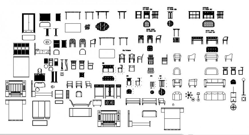 Multiple house-hold furniture units blocks detail elevation autocad fil