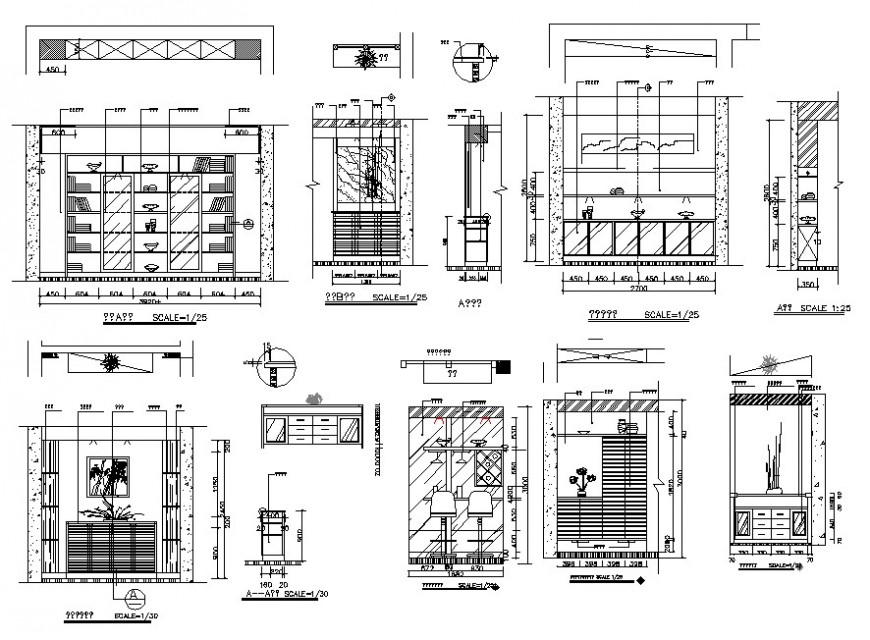 Multiple house cabinets and furniture cad drawing details dwg file