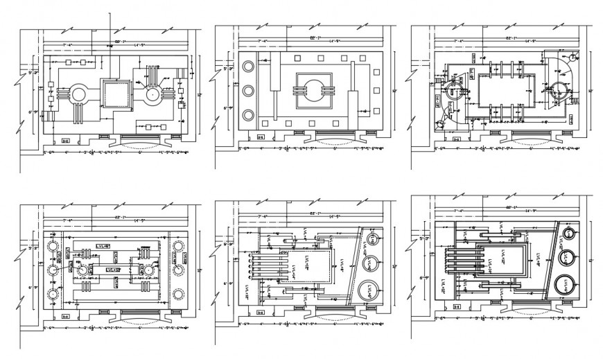 Multiple house ceiling plan elevation blocks cad drawing details dwg file
