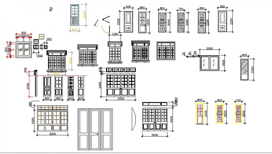 Multiple house doors and windows blocks cad drawing details dwg file