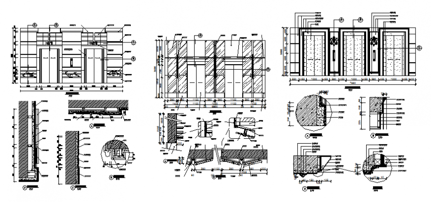 Multiple house doors elevation and installation details dwg file
