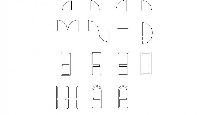 Multiple house doors elevation blocks cad drawing details dwg file