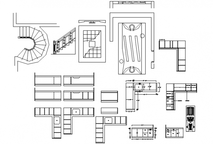 Multiple house furniture and interior blocks cad drawing details dwg file
