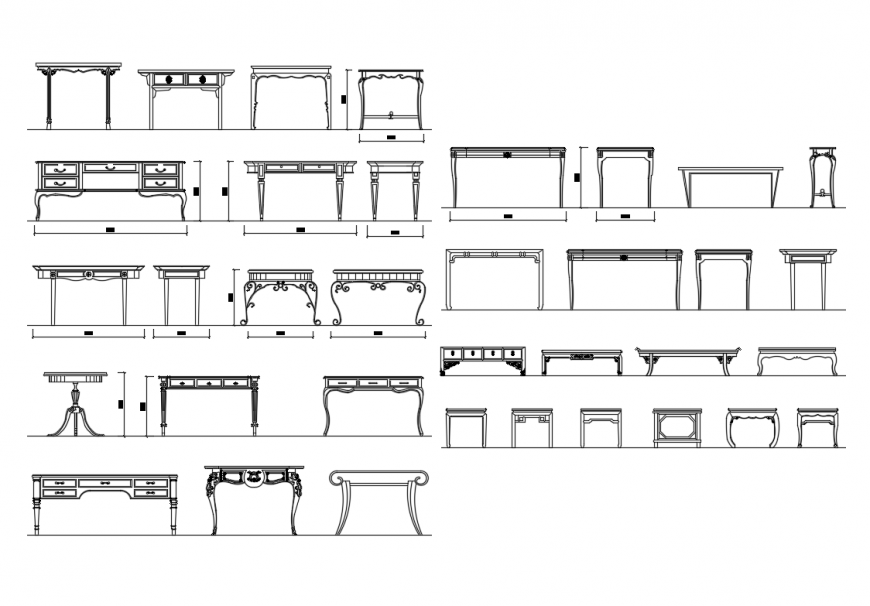 Multiple house hold dining tables cad blocks design details dwg file