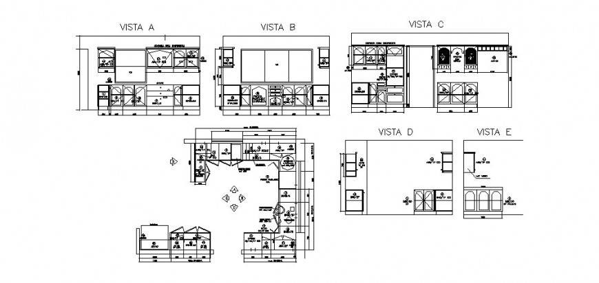 Multiple house kitchen plans with furniture cad drawing details dwg file