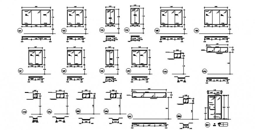 Multiple house windows elevation blocks drawing details dwg file