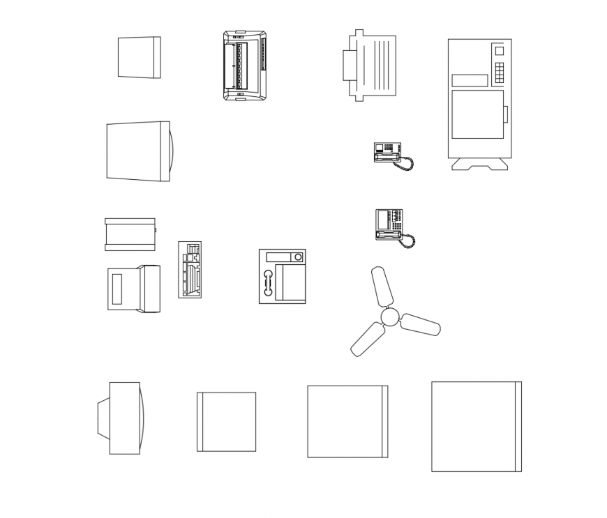Multiple household electrical equipment blocks cad drawing details dwg file
