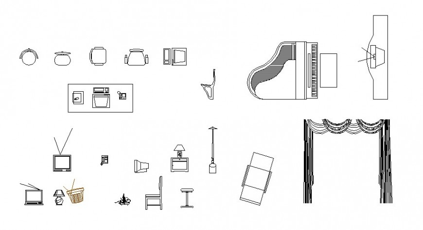Multiple household equipment blocks cad drawing details dwg file